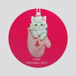 Personalized Pink Kitten Ornament (round)