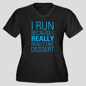 I RUN FOR DESSERT Women's Plus Size V-Neck Dark T-