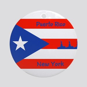 Puerto Rico New York Flag Lady Liberty Ornament (R