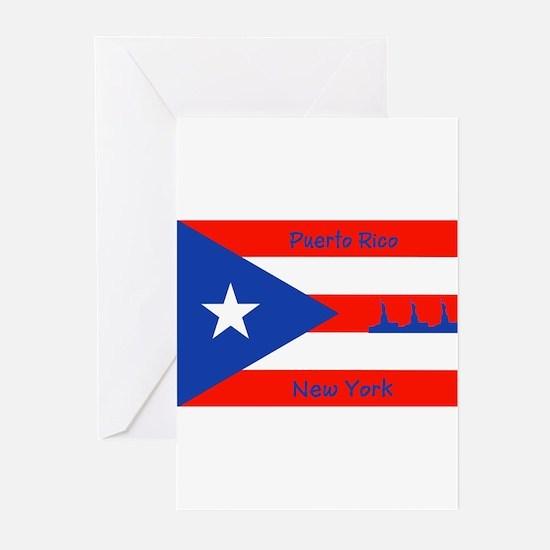 Puerto Rico New York Flag Lady Liberty Greeting Ca