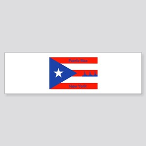 Puerto Rico New York Flag Lady Liberty Bumper Stic
