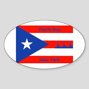 Puerto Rico New York Flag Lady Liberty Sticker