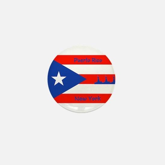 Puerto Rico New York Flag Lady Liberty Mini Button
