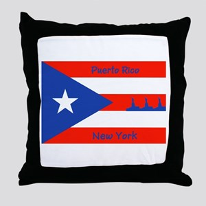 Puerto Rico New York Flag Lady Liberty Throw Pillo