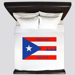 Puerto Rico New York Flag Lady Liberty King Duvet