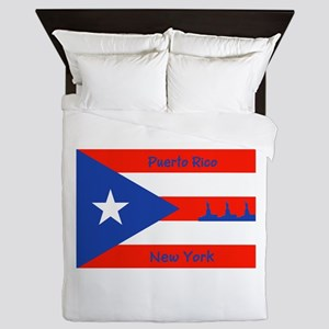 Puerto Rico New York Flag Lady Liberty Queen Duvet