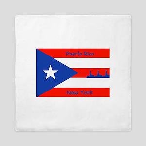 Puerto Rico New York Flag Lady Liberty Queen Duvet