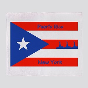Puerto Rico New York Flag Lady Liberty Throw Blank