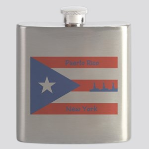 Puerto Rico New York Flag Lady Liberty Flask