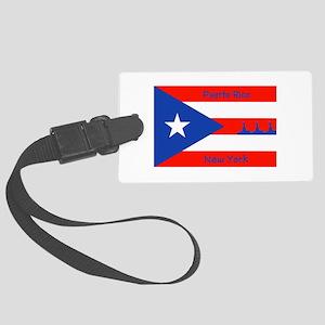 Puerto Rico New York Flag Lady Liberty Luggage Tag