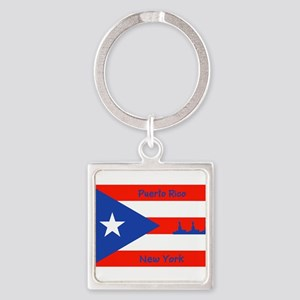 Puerto Rico New York Flag Lady Liberty Keychains