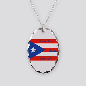 Puerto Rico New York Flag Lady Necklace Oval Charm