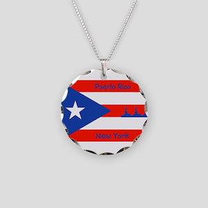 Puerto Rico New York Flag Lady Liberty Necklace