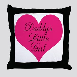Daddys Little Girl Large Heart Throw Pillow