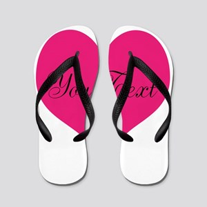 Personalizable Pink and Black Heart Flip Flops