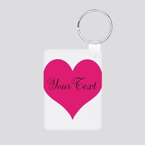 Personalizable Pink and Black Heart Keychains