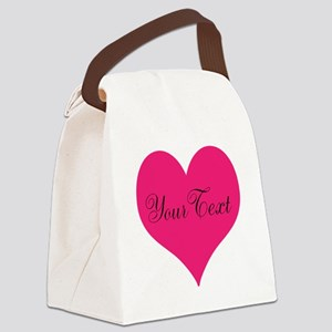 Personalizable Pink and Black Heart Canvas Lunch B