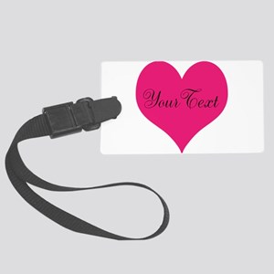 Personalizable Pink and Black Heart Luggage Tag
