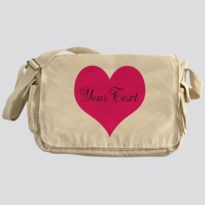 Personalizable Pink and Black Heart Messenger Bag