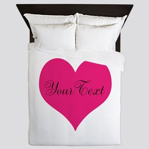 Personalizable Pink and Black Heart Queen Duvet