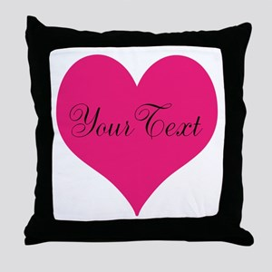 Personalizable Pink and Black Heart Throw Pillow