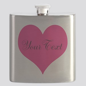 Personalizable Pink and Black Heart Flask