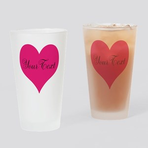 Personalizable Pink and Black Heart Drinking Glass