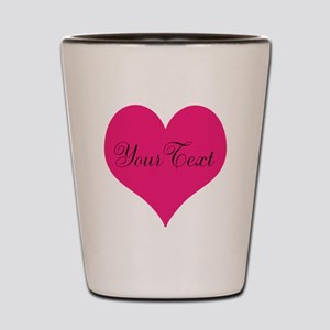 Personalizable Pink and Black Heart Shot Glass