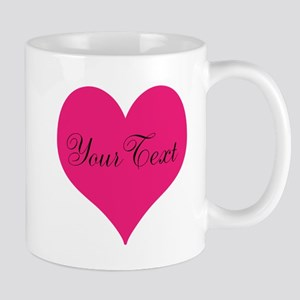 Personalizable Pink and Black Heart Mugs