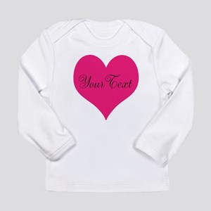 Personalizable Pink and Black Heart Long Sleeve T-
