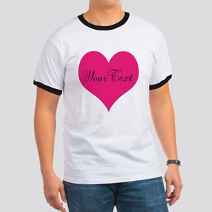 Personalizable Pink and Black Heart T-Shirt