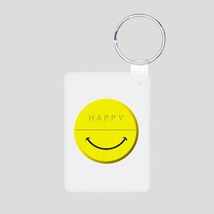 Happy Pill Aluminum Photo Keychain