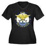 USS LOCKWOOD Women's Plus Size V-Neck Dark T-Shirt