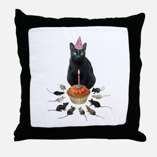 Black Cat Birthday Rats Throw Pillow