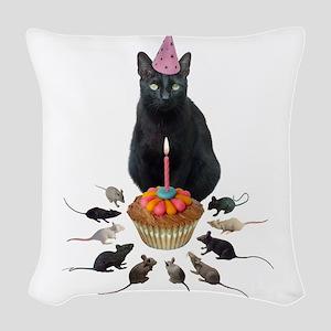 Black Cat Birthday Rats Woven Throw Pillow