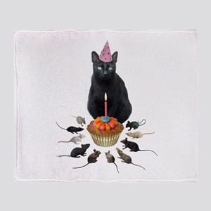 Black Cat Birthday Rats Throw Blanket