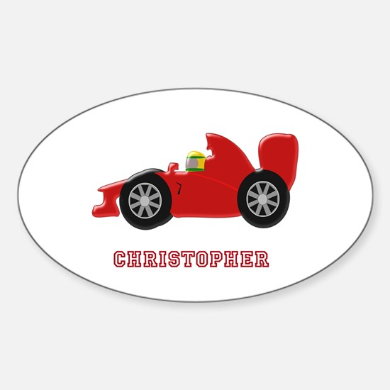 Personalised Red Racing Car Decal