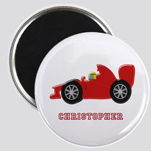 Personalised Red Racing Car Magnets