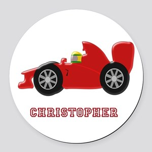Personalised Red Racing Car Round Car Magnet