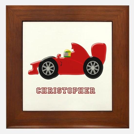 Personalised Red Racing Car Framed Tile