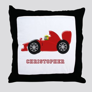 Personalised Red Racing Car Throw Pillow