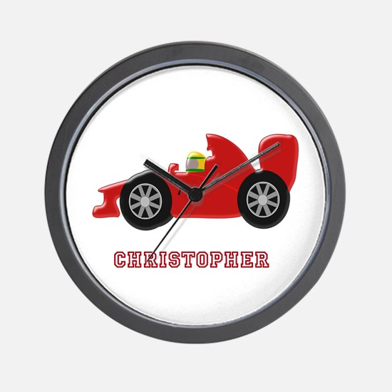 Personalised Red Racing Car Wall Clock
