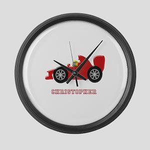 Personalised Red Racing Car Large Wall Clock