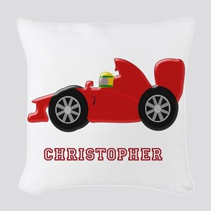 Personalised Red Racing Car Woven Throw Pillow