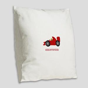 Personalised Red Racing Car Burlap Throw Pillow