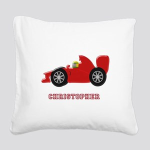 Personalised Red Racing Car Square Canvas Pillow