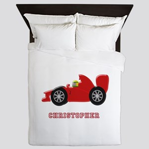 Personalised Red Racing Car Queen Duvet
