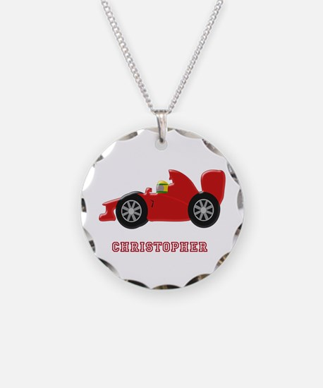 Personalised Red Racing Car Necklace