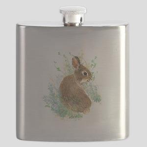 Cute Watercolor Bunny Rabbit Pet Animal Flask