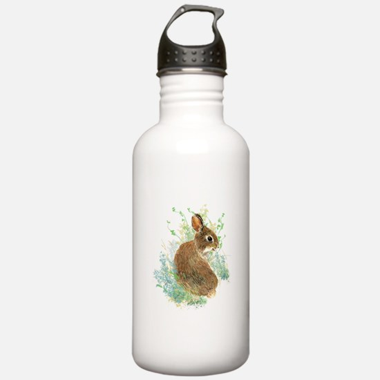 Cute Watercolor Bunny Rabbit Pet Animal Water Bott